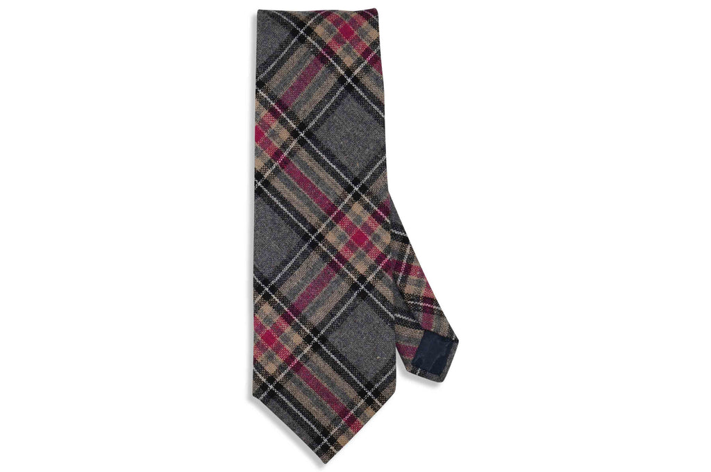 Grey Plaid Wool Tie