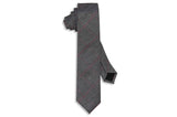 Grey Red Stripes Cotton Skinny Tie