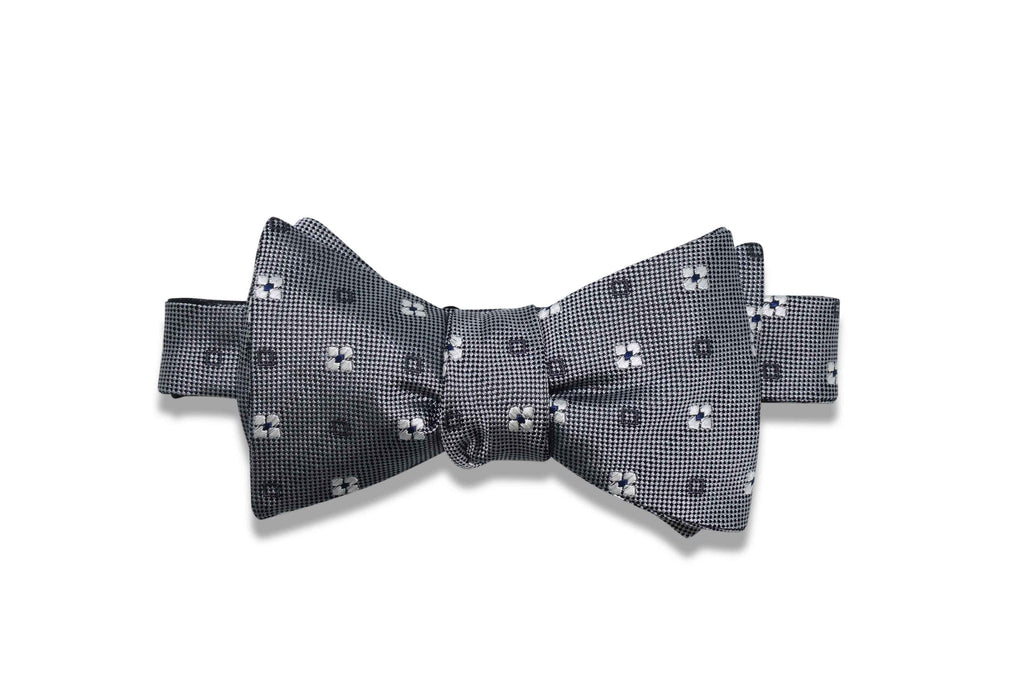 Grey White Flowers Silk Bow Tie (self-tie)
