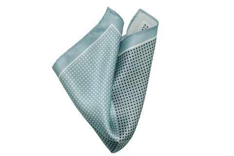 Greyish Blue Dots Silk Pocket Square