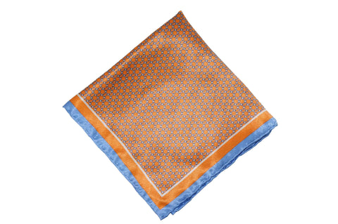 Gridlock Orange Silk Pocket Square