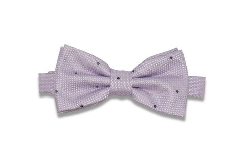 Heather White Dotted Linen Bow (Pre-Tied)
