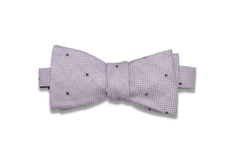 Heather White Dotted Linen Bow Tie (Self-Tie)