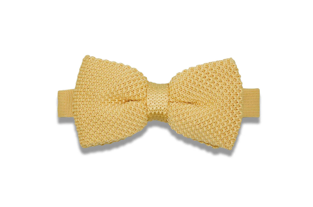 Honey Yellow Knitted Bow Tie (pre-tied)