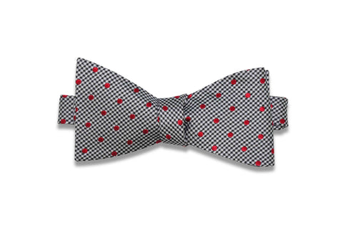 Houndstooth Red Silk Bow Tie (self-tie)