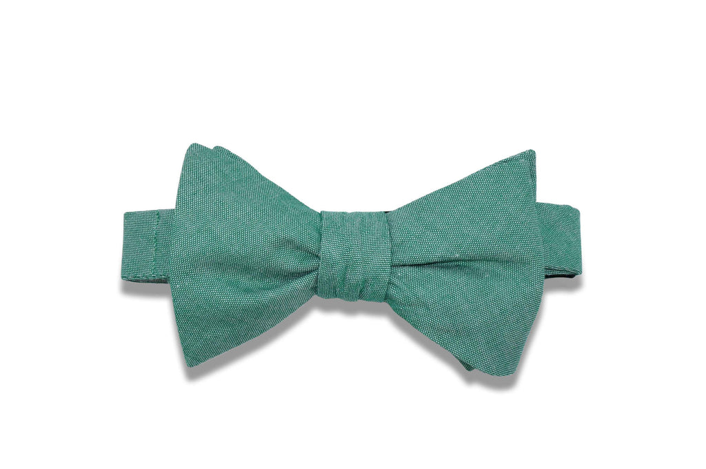 Hunter Green Chambray Cotton Bow Tie (self-tie)