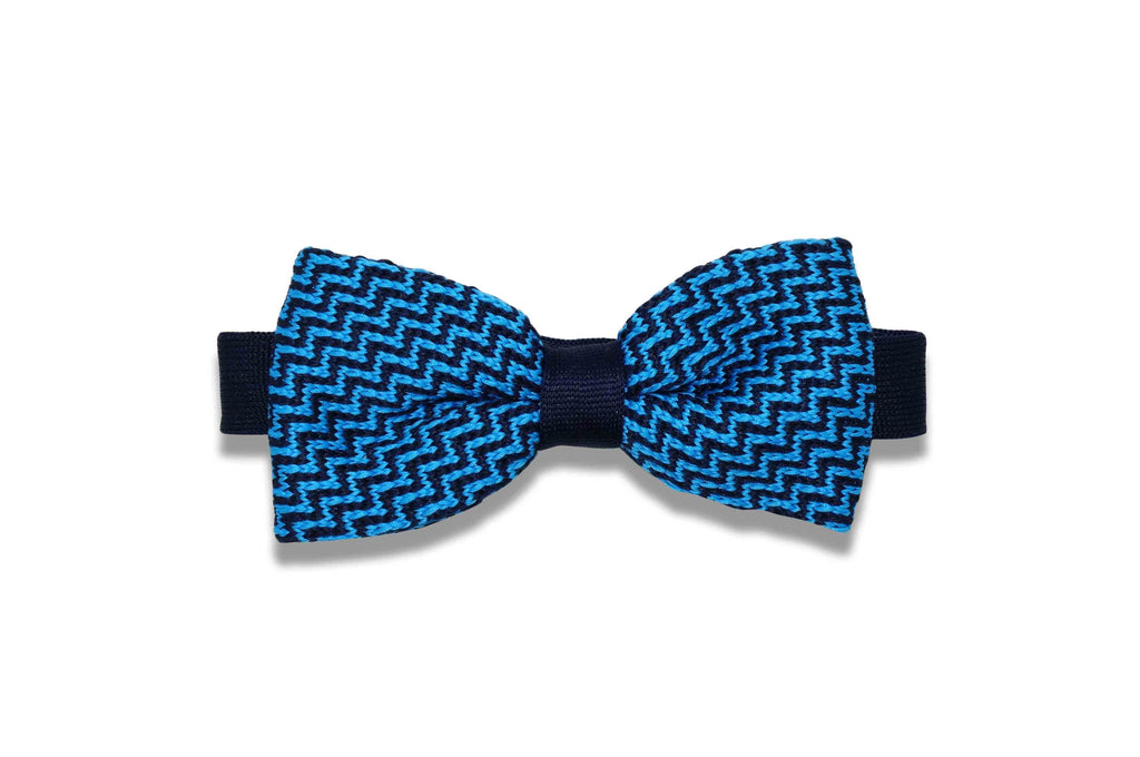 Hypnotize Blue Knitted Bow Tie (pre-tied)