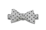 Ice Blue Flowers Silk Bow Tie (self-tie)
