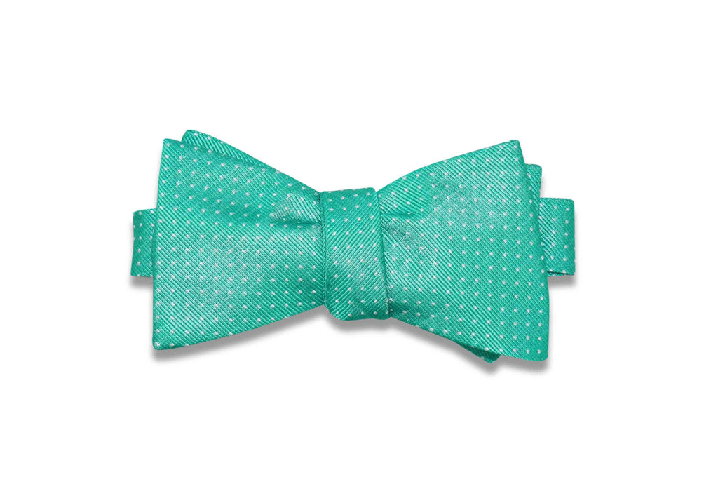 Jungle Green Micro Dots Silk Bow Tie (Self-Tie)