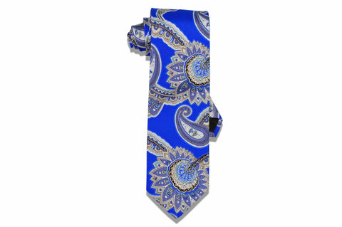Blue Large Paisley Silk Tie