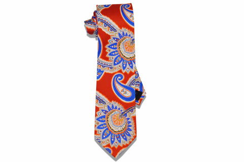 Orange Large Paisley Silk Tie