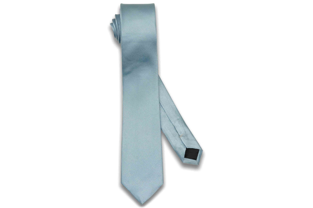 Light Blue Herringbone Silk Skinny Tie