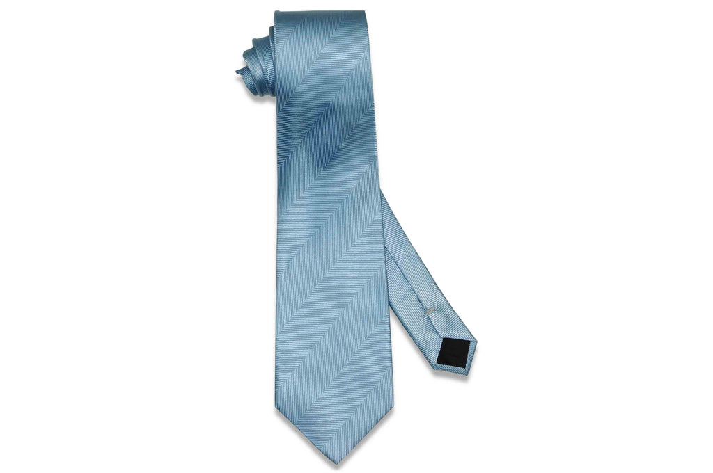 Light Blue Herringbone Silk Tie