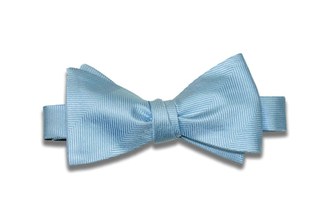 Light Blue Herringbone Silk Bow Tie (Self-Tie)