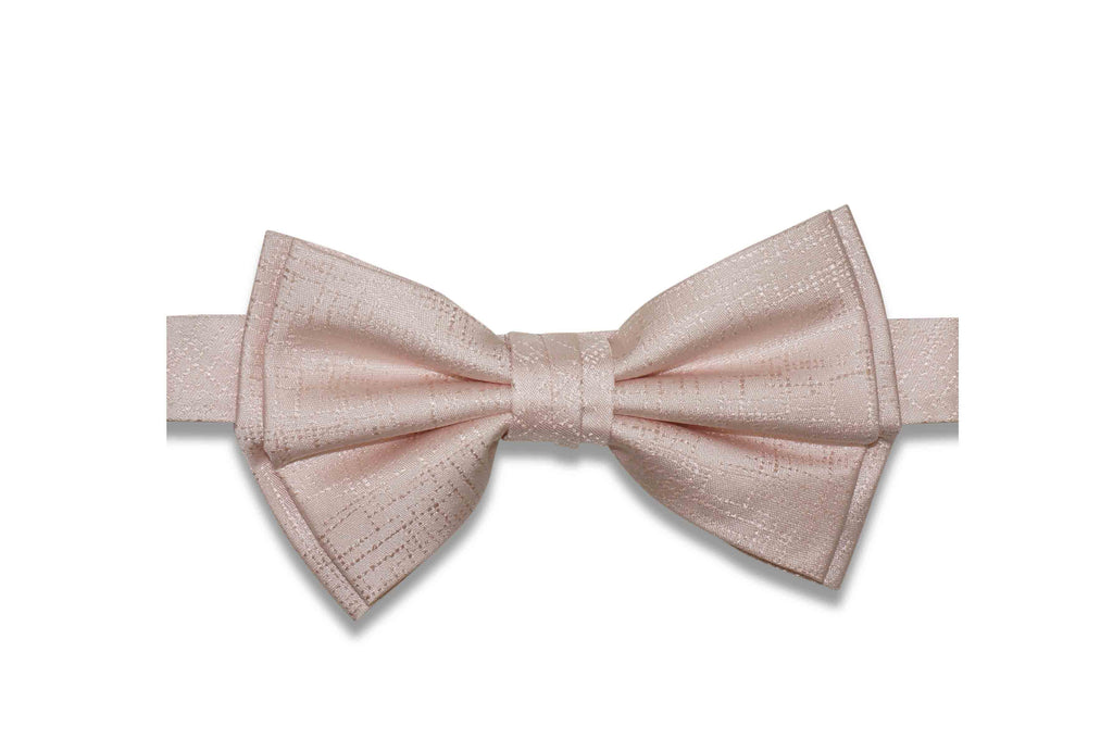 Light Blush Texture Silk Bow Tie (Pre-Tied)