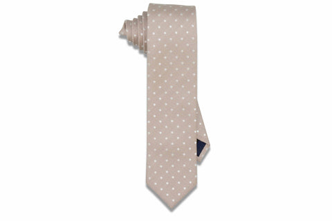 Light Brown Dots Silk Skinny Tie