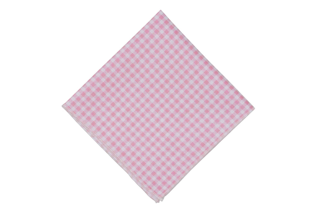 Light Pink Gingham Cotton Pocket Square