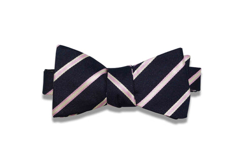 Light Pink Stripes Silk Bow Tie