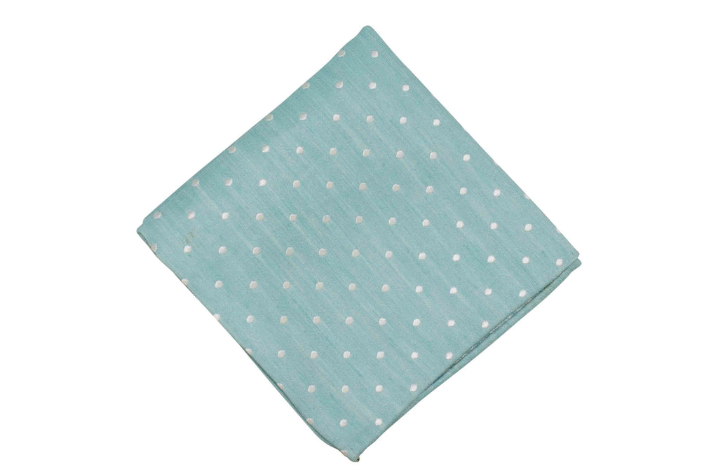 Light Teal Dotted Silk Pocket Square