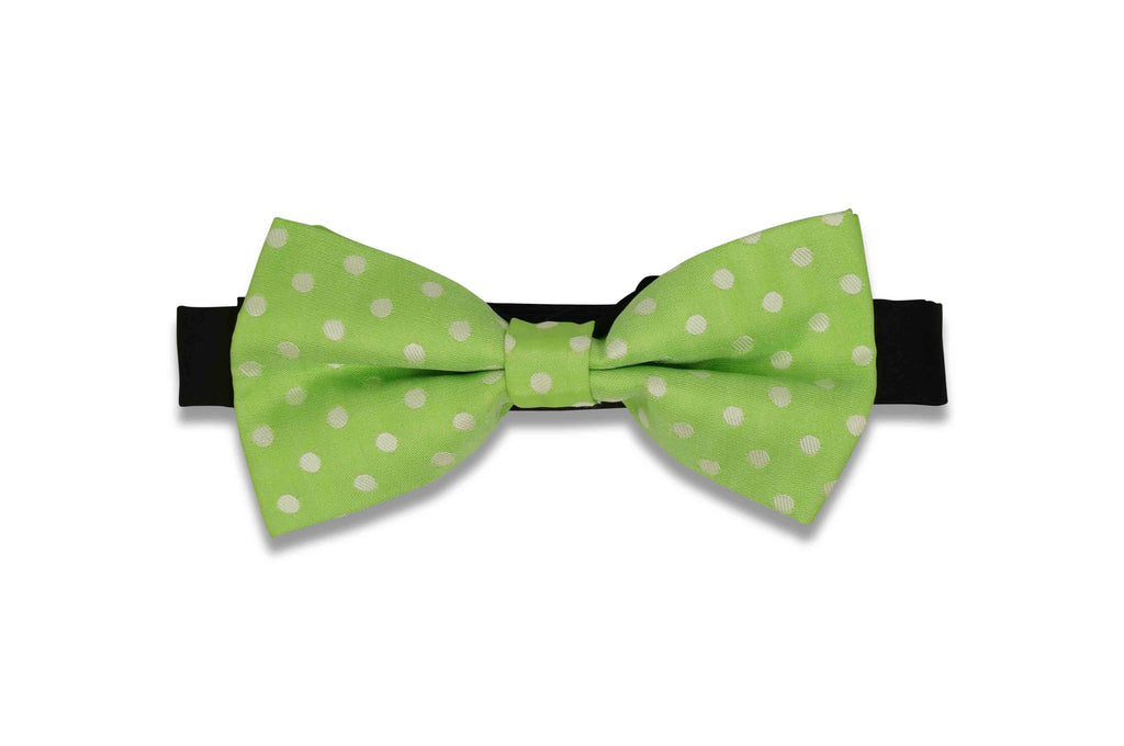 Lime Dotted Bow Tie (PRE-TIED)