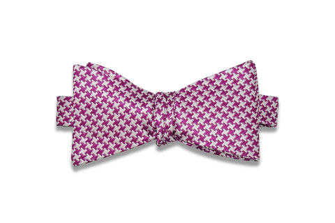 Magenta White Silk Bow Tie (self-tie)