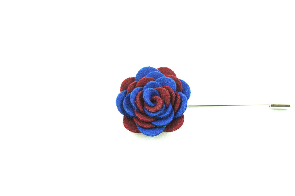Maroon Blue Wool Lapel Flower