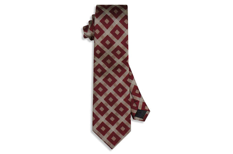 Maroon Box Stripes Silk Tie