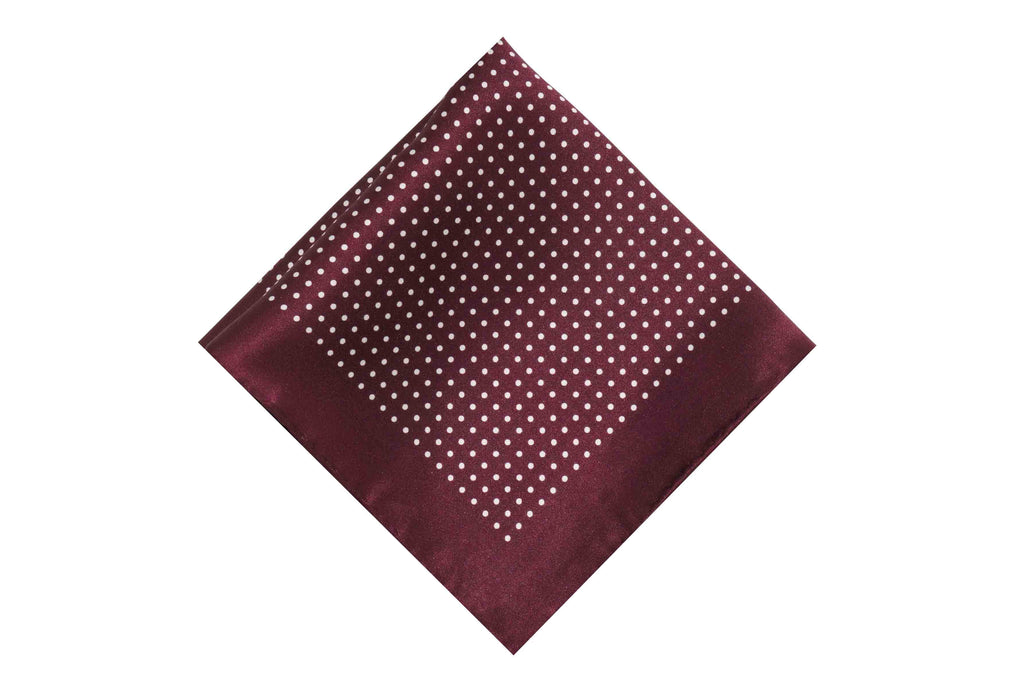 Maroon Dotted Silk Pocket Square