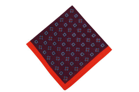 Maroon Flowers Wool Pocket Square
