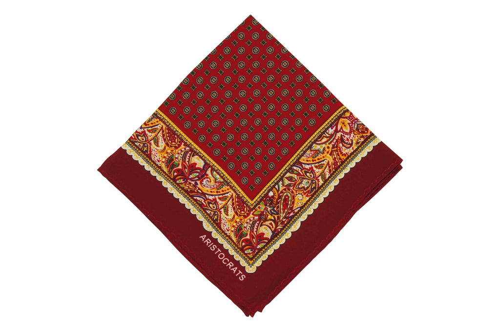 Maroon Frames Silk Pocket Square