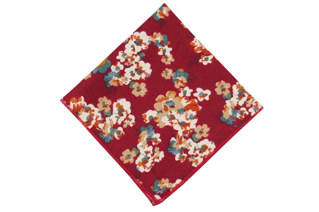 Maroon Splattered Flowers Cotton Pocket Square