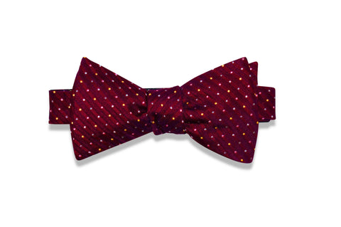 Maroon Striped Dots Silk Bow Tie (self-tie)