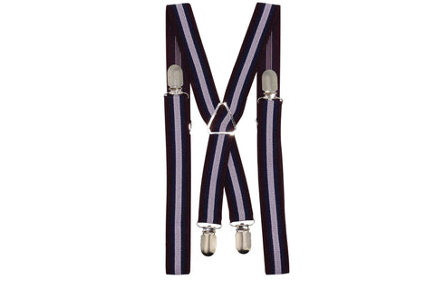 Maroon White Striped Suspenders