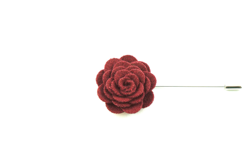 Maroon Wool Lapel Flower