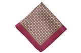 Maroon Yellow Circles Silk Pocket Square