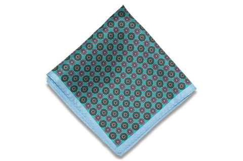 Medal Blue Silk Pocket Square