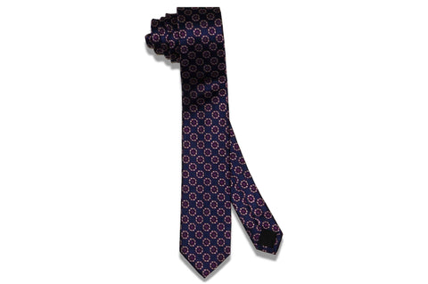 Medallion Purple Blue Silk Skinny Tie