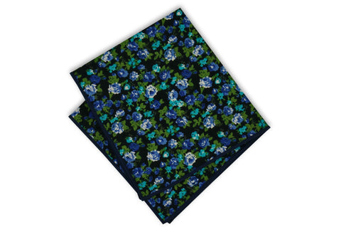 Midnight Floral Cotton Pocket Square