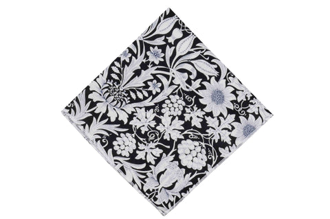 Midnight Garden Cotton Pocket Square