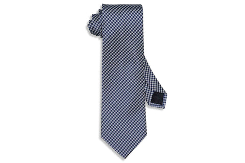 Blue Mini White Silk Tie