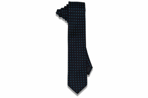 Mini Squared Black Silk Skinny Tie
