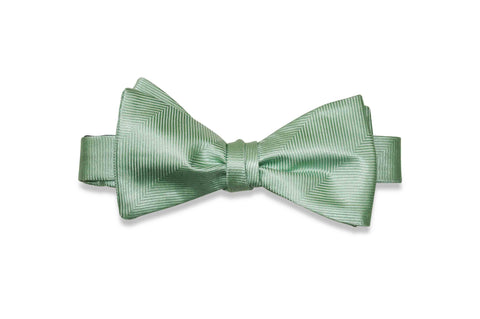 Mint Herringbone Silk Bow Tie (Self-Tie)
