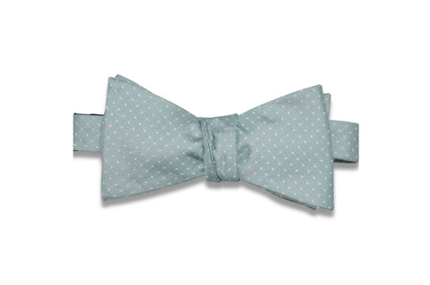 Mint Pin Dots Silk Bow Tie (Self-Tie)