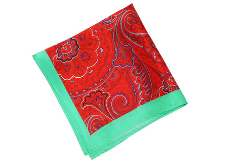 Mint Red Silk Pocket Square