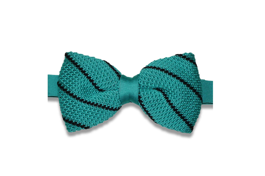 Mint Stripes Knitted Bow Tie (pre-tied)