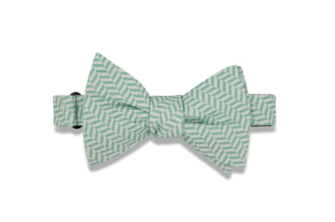 Mint White Herringbone Cotton Bow Tie (self-tie)