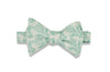 Mint White Patterned Cotton Bow Tie (self-tie)