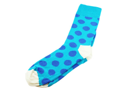 Multi Blue Polka Dots Men's Socks