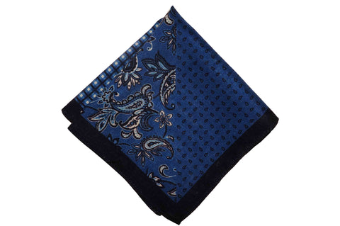 Multi Blue Wool Pocket Square