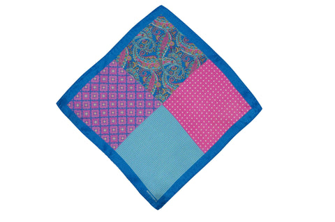 Multi Blue Silk Pocket Square